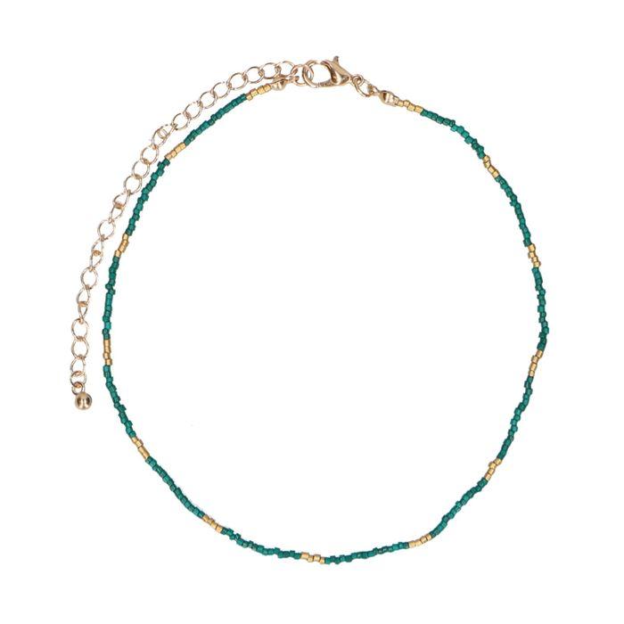 Collier avec perles dorées - vert