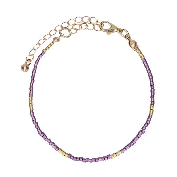 Bracelet avec perles dorées - lilas