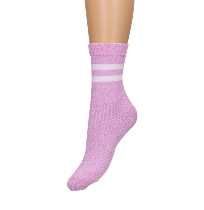 Lilafarbene Glitzer-Socken mit Streifen
