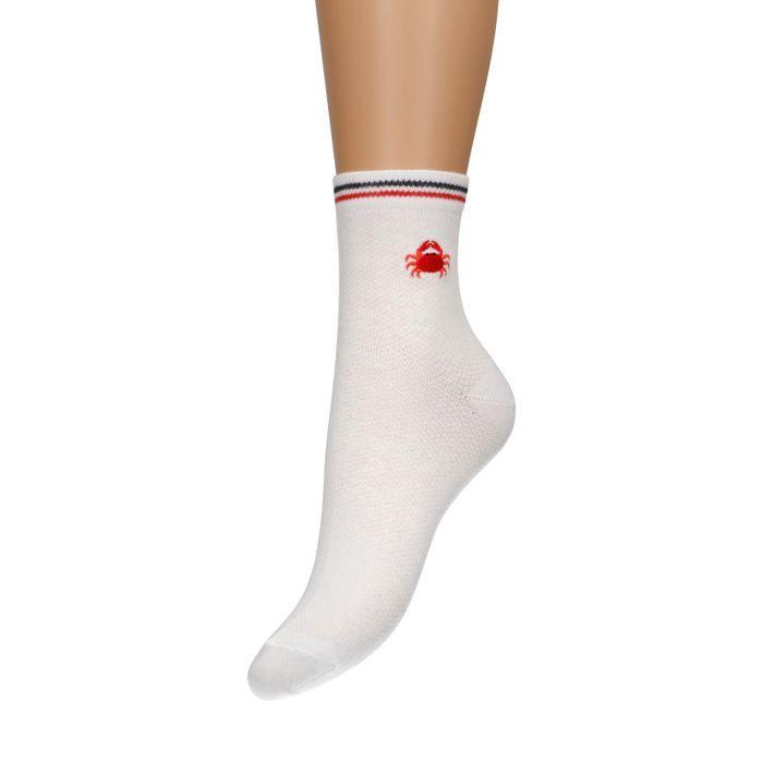 Weiße Socken mit Krabben-Stickerei