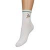 Weiße Socken mit Faultier-Stickerei