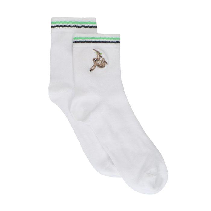 Witte sokken met luiaard