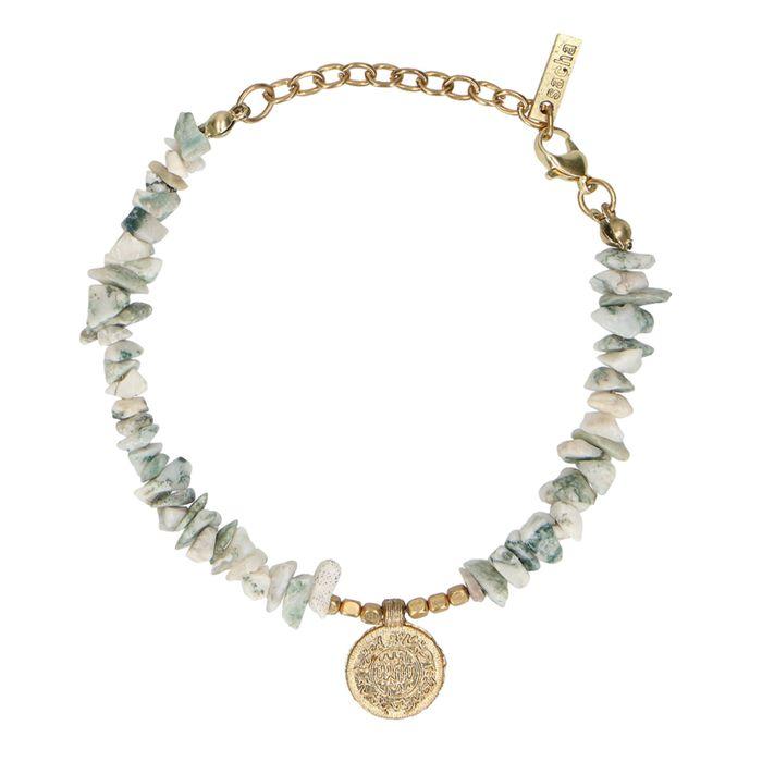 Armbandje met steentjes en munt