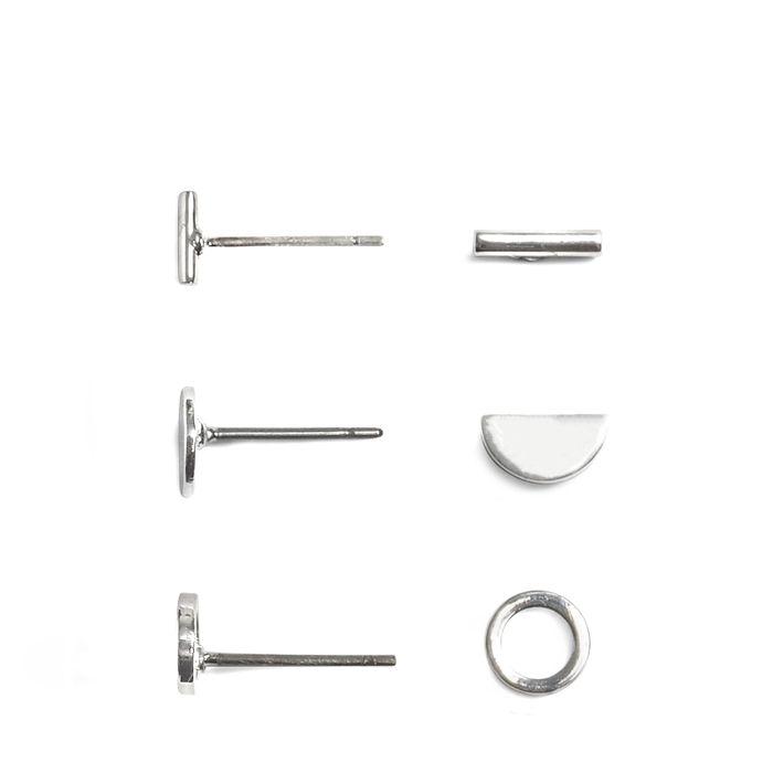 Set van drie zilverkleurige knopjes