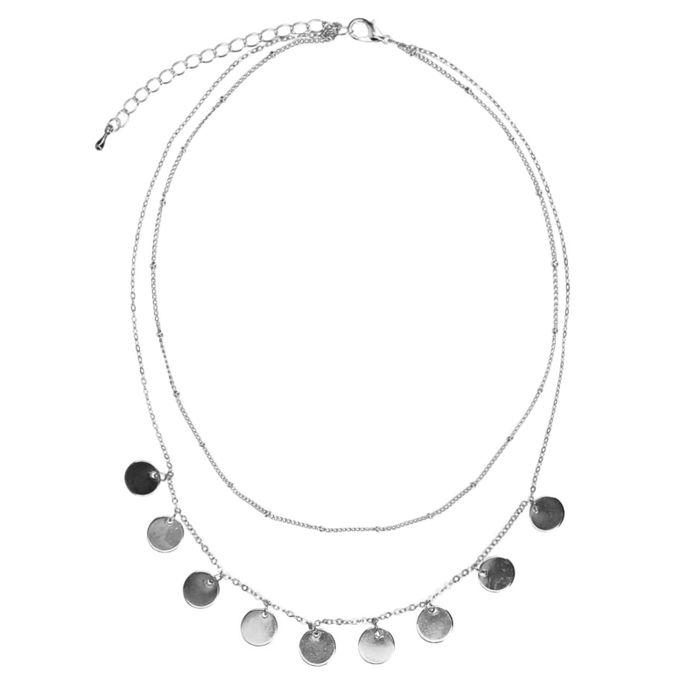 Zilverkleurige layer ketting met cirkeltjes