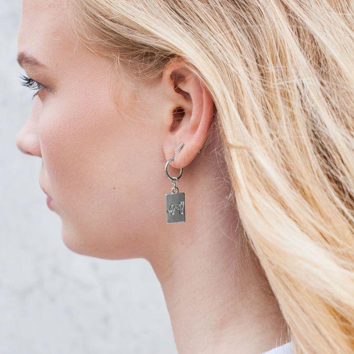 Zilverkleurige oorbellen met panters