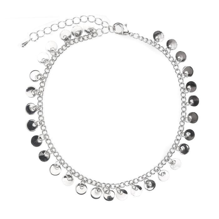 Zilverkleurig enkelbandje met cirkels