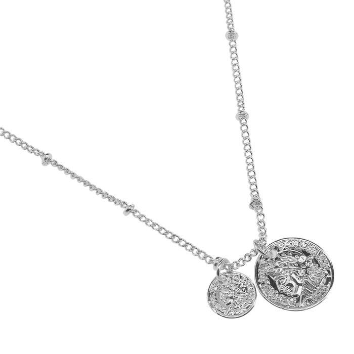 Zilverkleurige ketting met coins