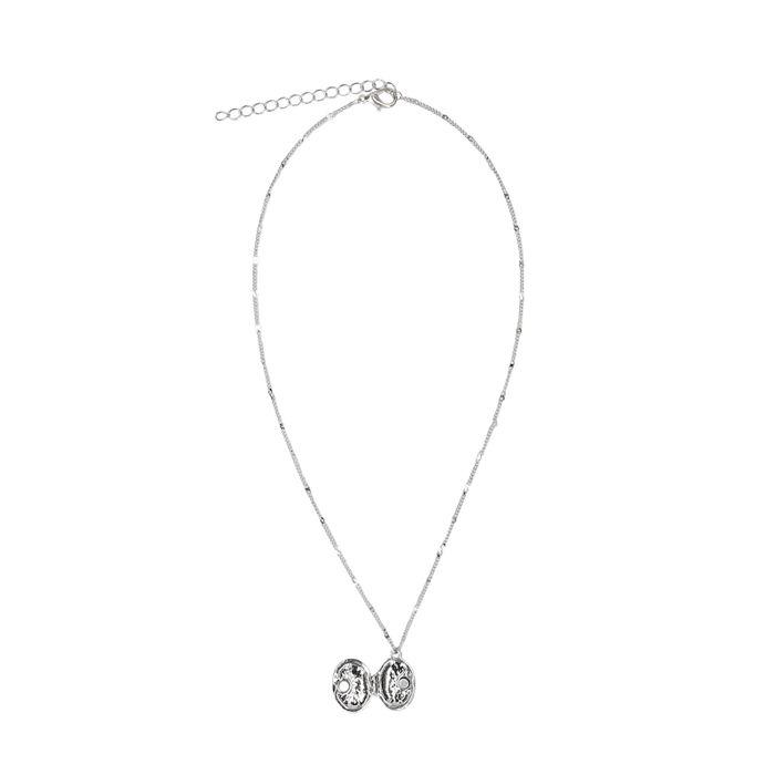 Zilverkleurige ketting met rond medaillon