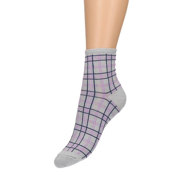 Grijs geruite sokken met glitter