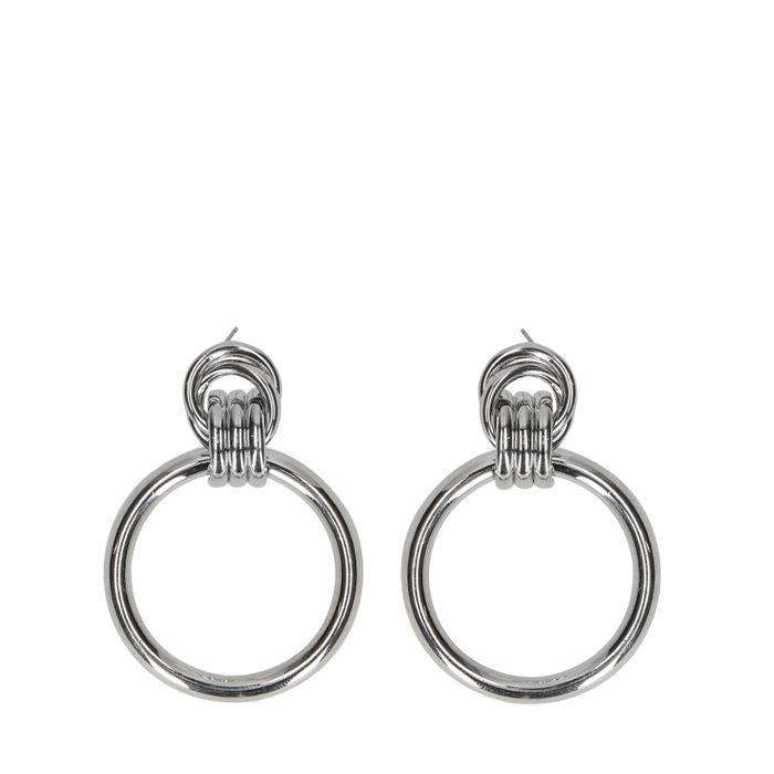 Zilverkleurige oorbellen hoops