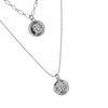 Dubbele zilverkleurige ketting met muntjes