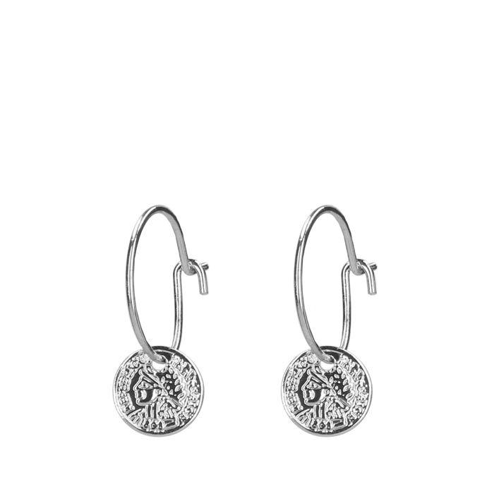 zilverkleurige oorbellen met muntje