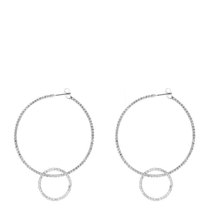 Ronde zilverkleurige oorbellen met steentjes