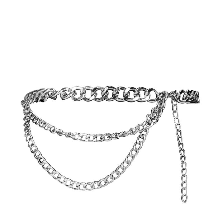 Chunky silver chain belt