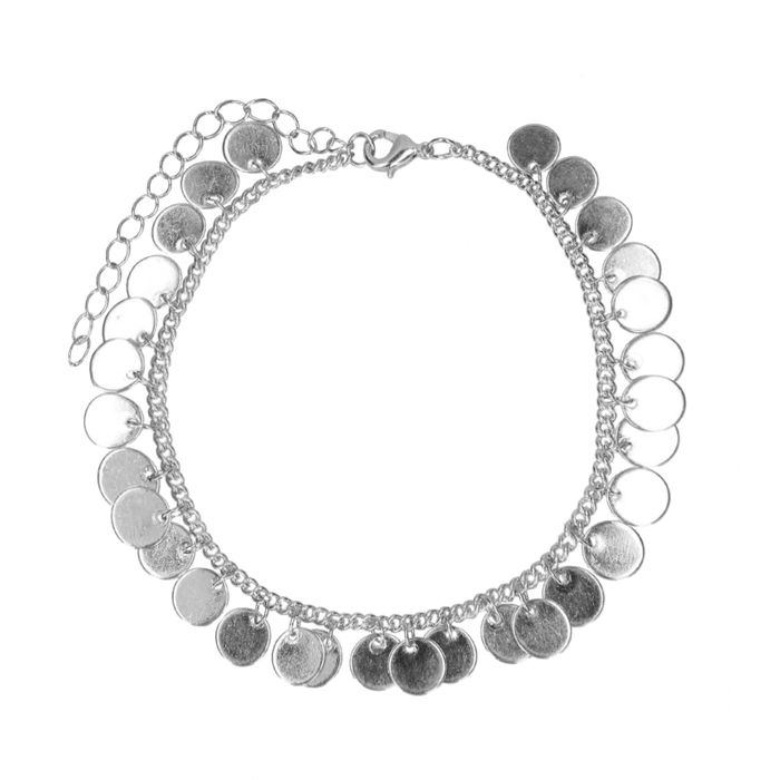 Zilverkleurig enkelbandje met muntjes