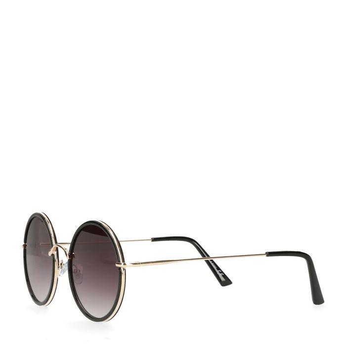Ronde retro zonnebril zwart