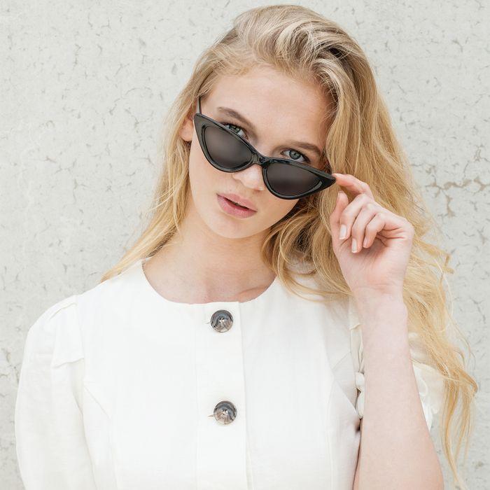 Zwarte cat-eye zonnebril