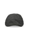Zwarte flatcap met visgraat patroon