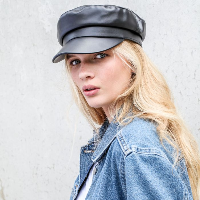 Zwarte leather look sailor cap