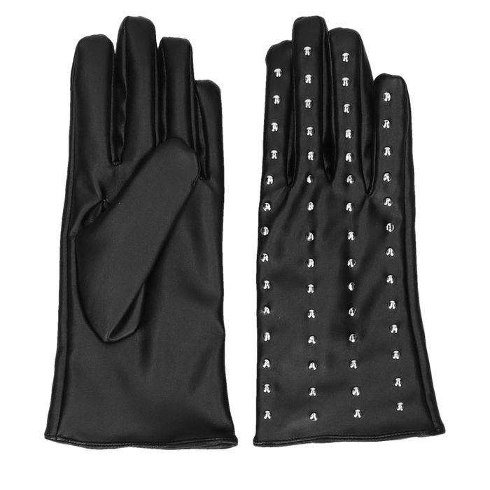 Zwarte leather look handschoenen met studs