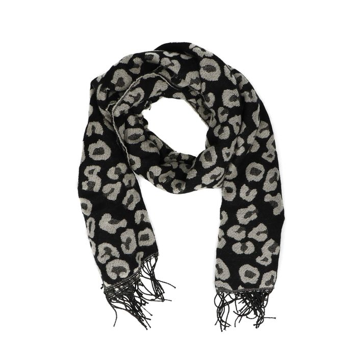 Zwarte sjaal met grijze panterprint