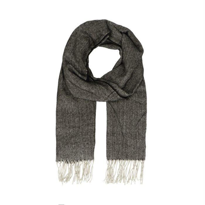 Zwarte sjaal met fishbone patroon