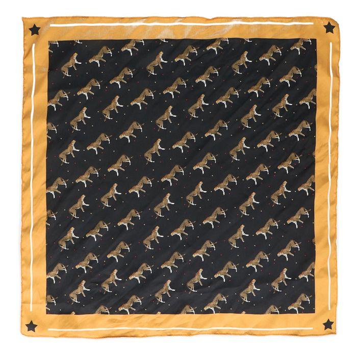 Zwart/geel sjaaltje met luipaardjes
