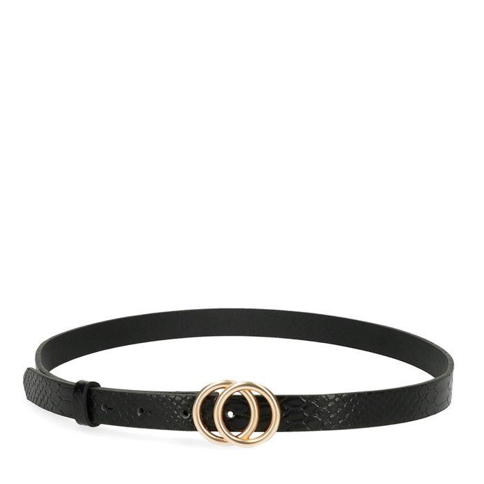 Zwarte snakeskin riem met cirkels