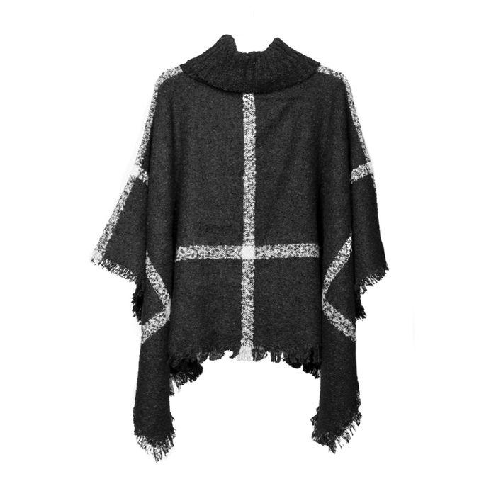 Zwarte poncho met grijze strepen