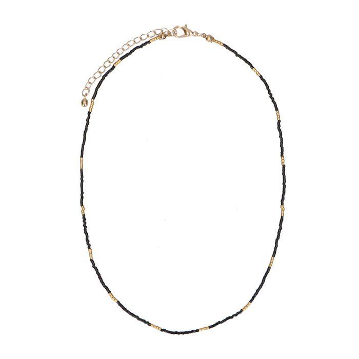 Zwarte ketting met goudkleurige kralen