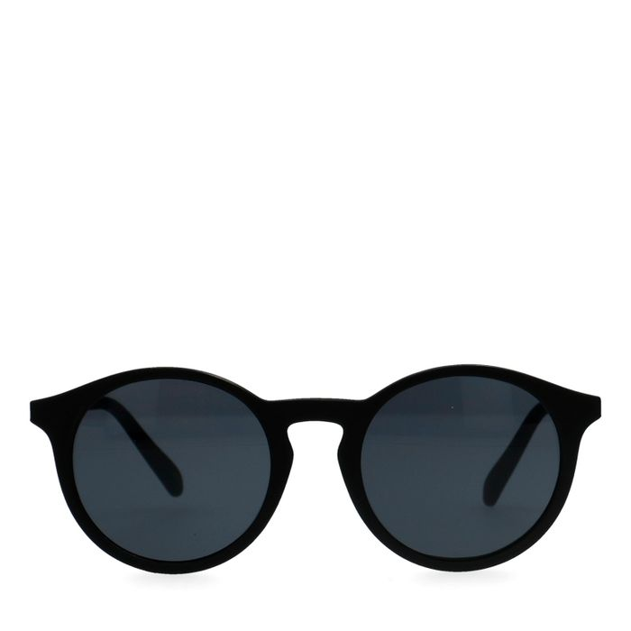 Mat zwarte ronde zonnebril