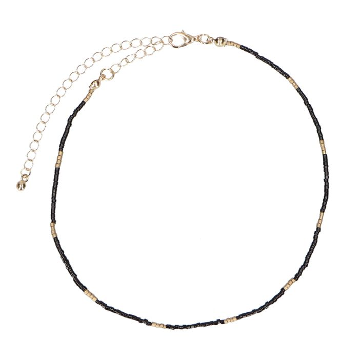 Zwarte chocker kralenketting