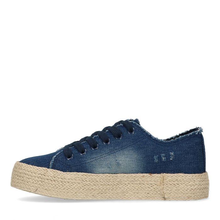 Canvas sneakers met spijkerstof