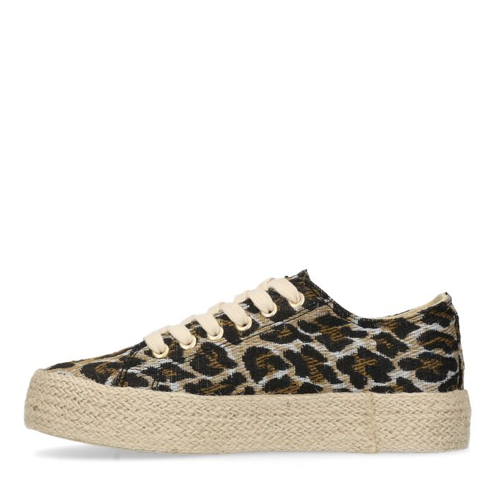 Canvas platform sneakers met panterprint