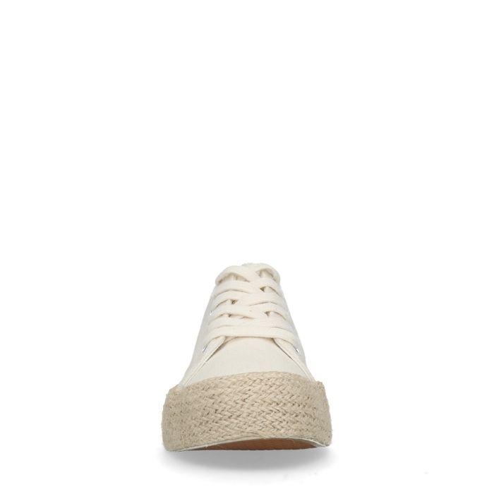 Witte platform sneakers met touwzool