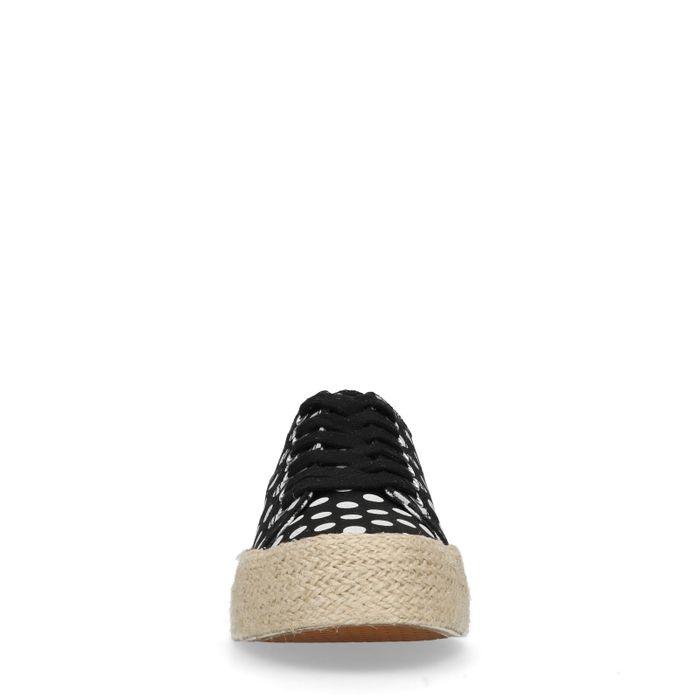 Zwart platform sneakers met stippen