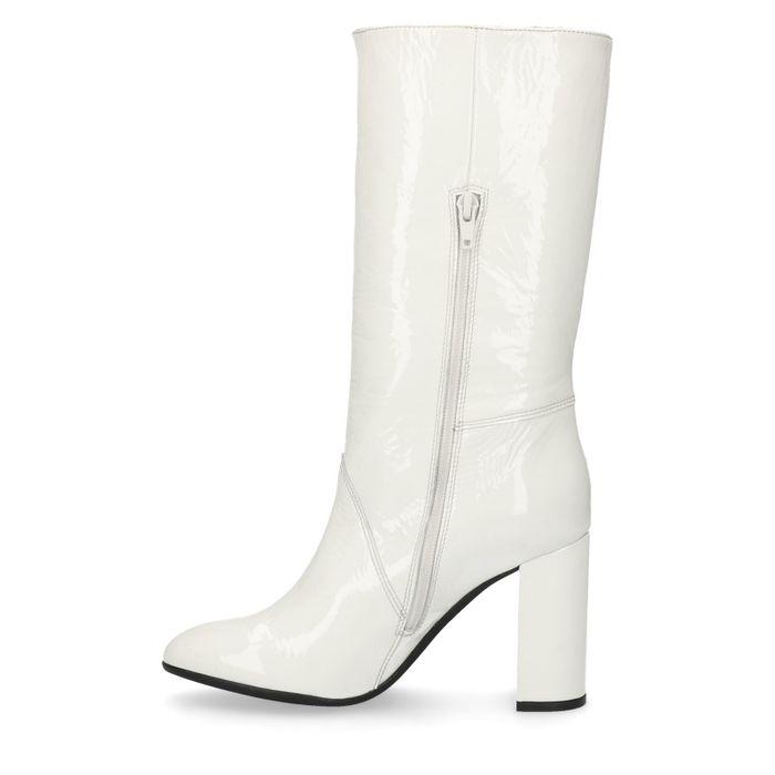 Sacha x Goldiloks witte lakleren hoge laarzen met hak