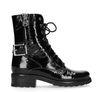 Lak zwarte biker boots met gesp