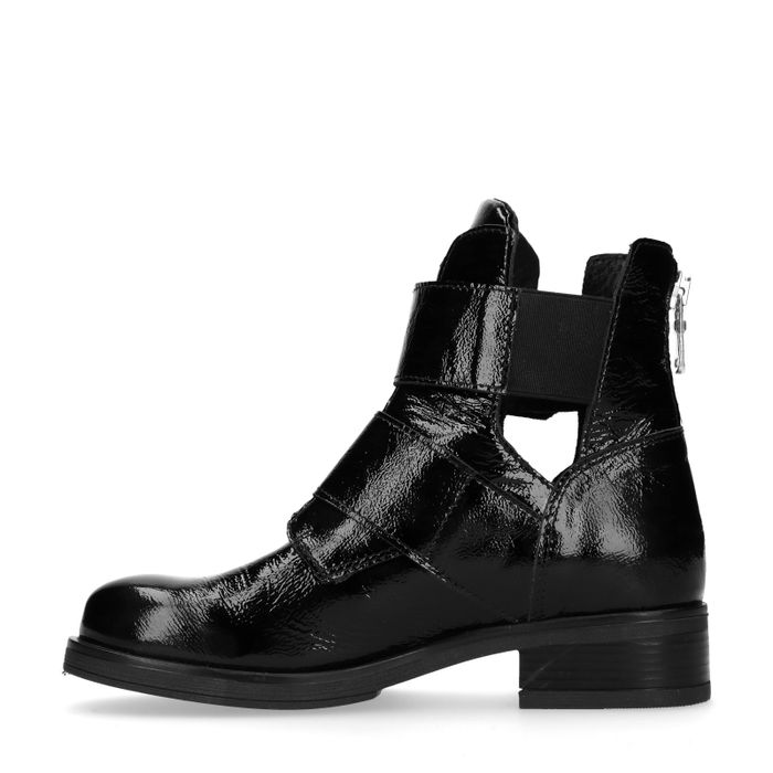 Lakleren biker boots met cut out