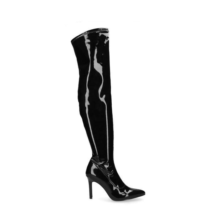 Lak zwarte overknee sock boots