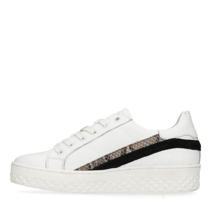 Witte platform sneakers met snakeskin details