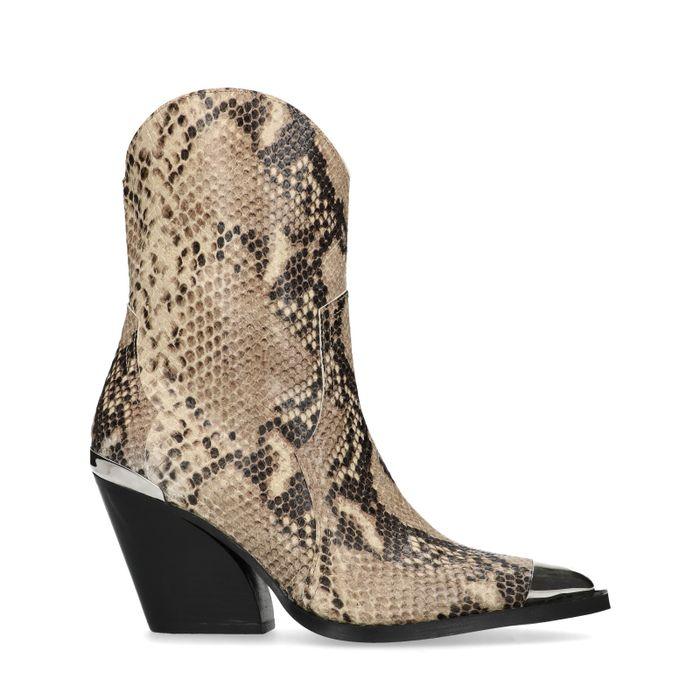 Snakeskin cowboylaarzen met metalen details