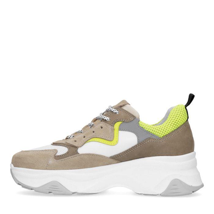 Dad sneakers met neon details