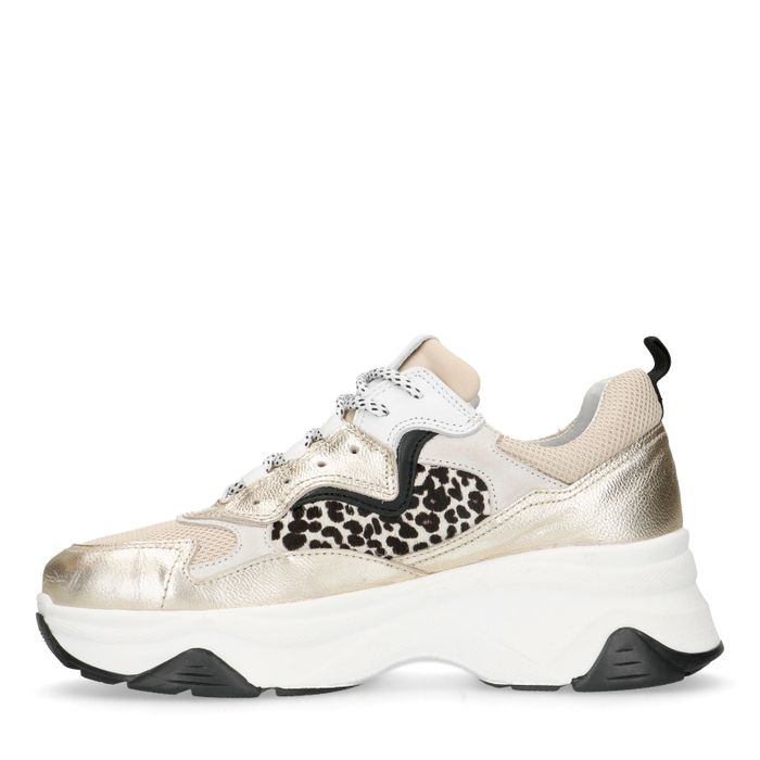 Goudkleurige dad sneakers met cheetahprint