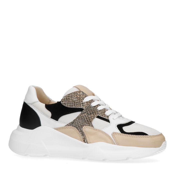 Beige dad sneakers met snakeskin