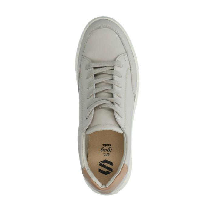 Beige leren sneakers met detail