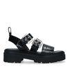 Zwarte leren plateau sandalen met crocoprint