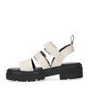 Beige platform sandalen met crocoprint