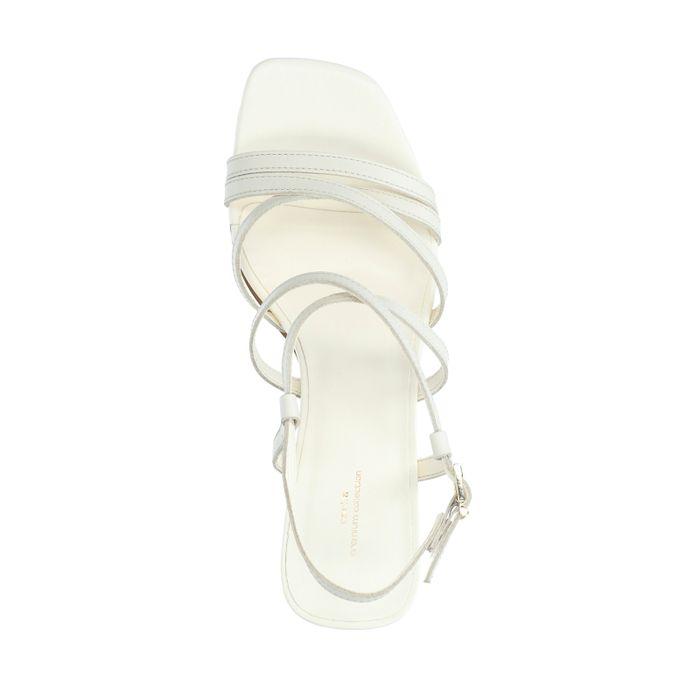 Beige leren sandalen met hak